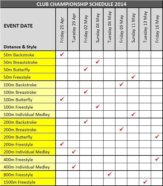 Club Championship Schedule 2014